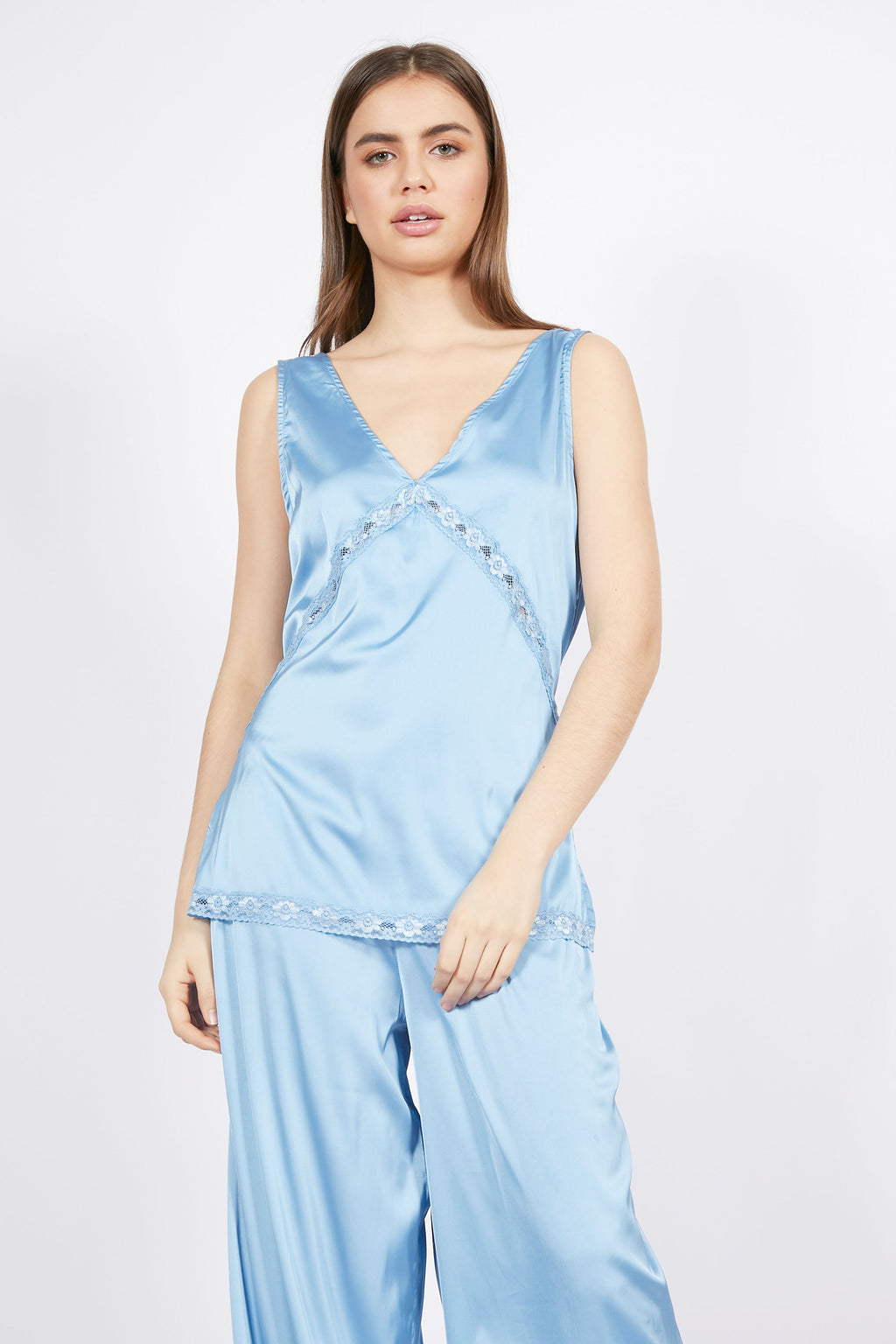 Vintage Inspired Light Blue Satin Top