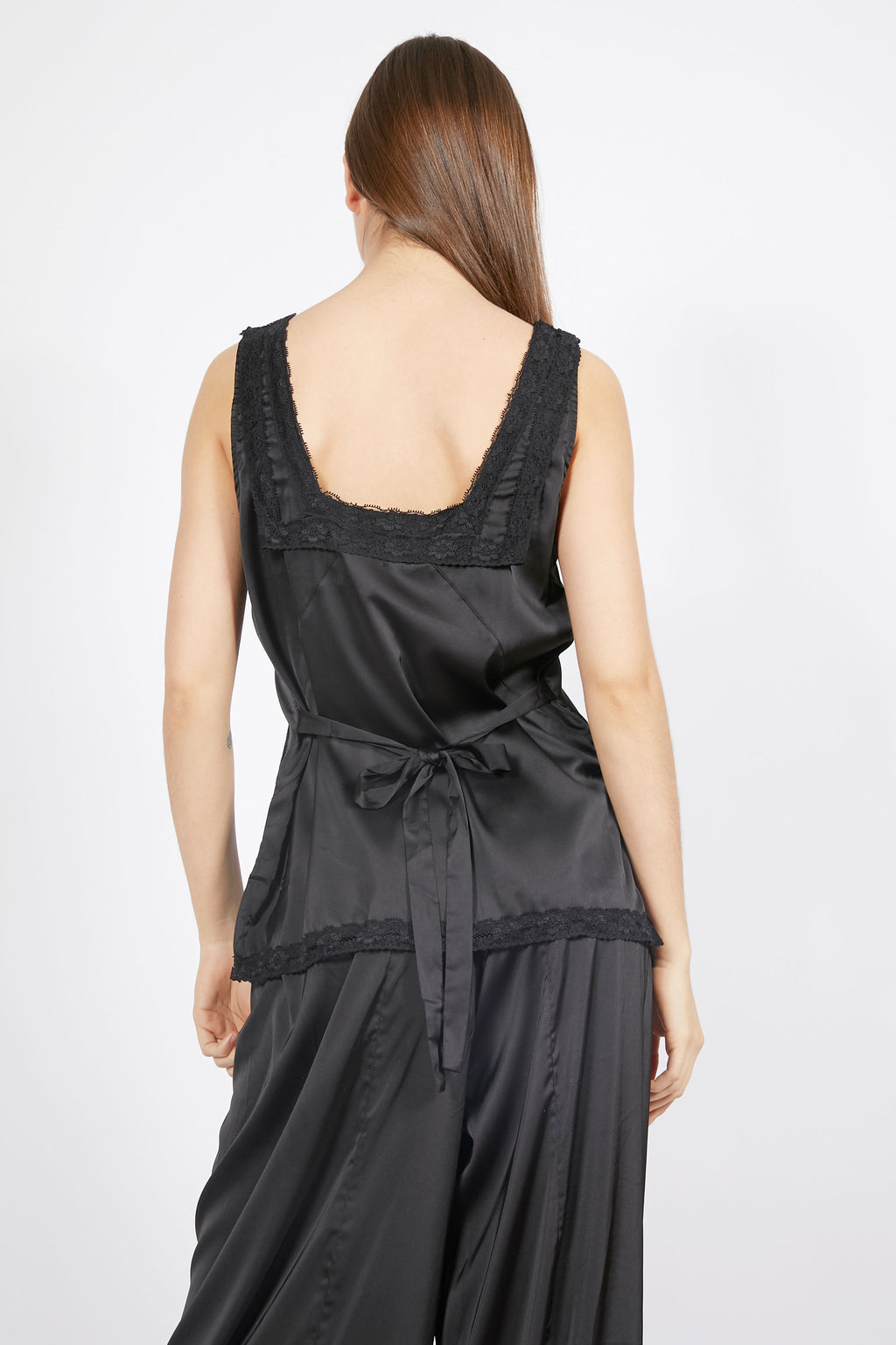 Vintage Inspired Black Satin Top