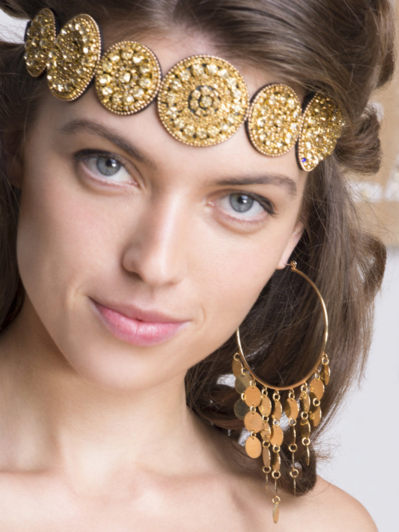 Gold Crystal Embellished Circular Headband