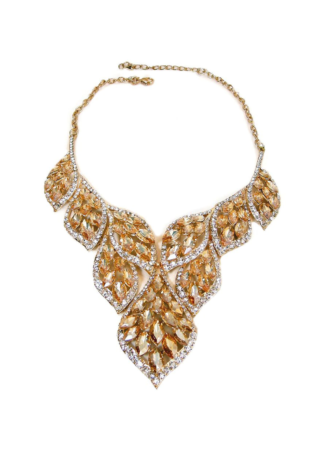 Faux Citrine and Clear Crystal Bib Necklace