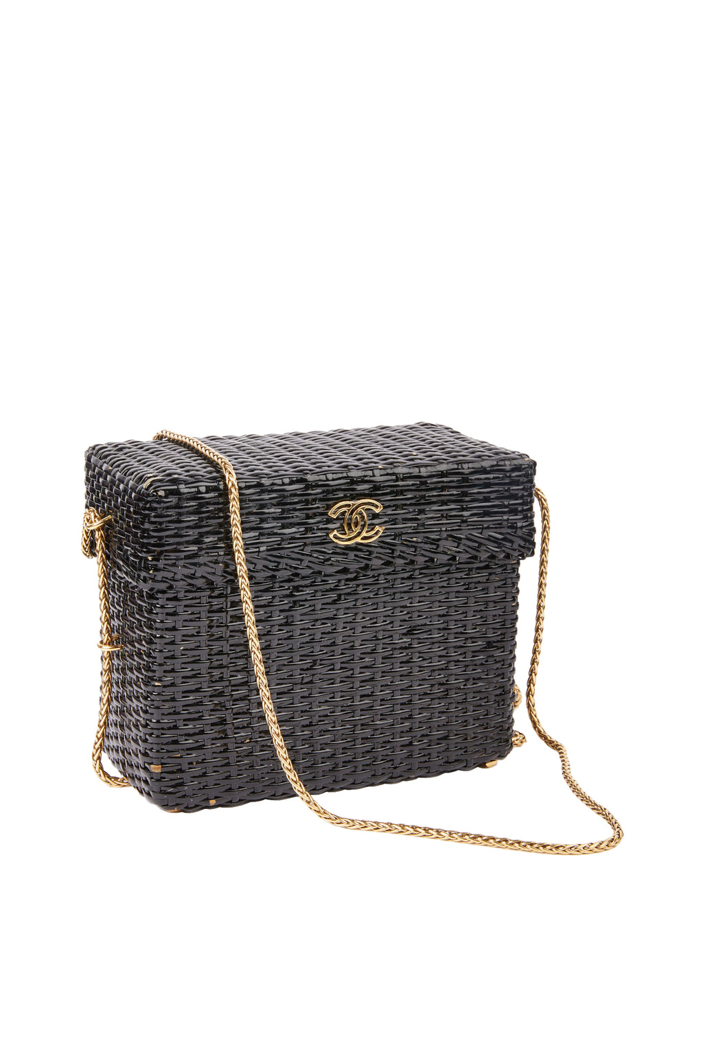 Vintage Coco Chanel Black Straw Wicker Handbag
