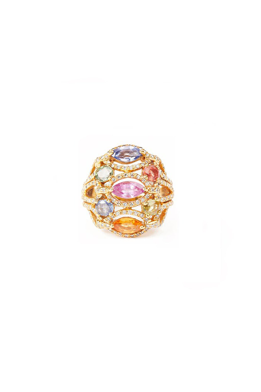Gold Diamond and Multicoloured Stones Ring