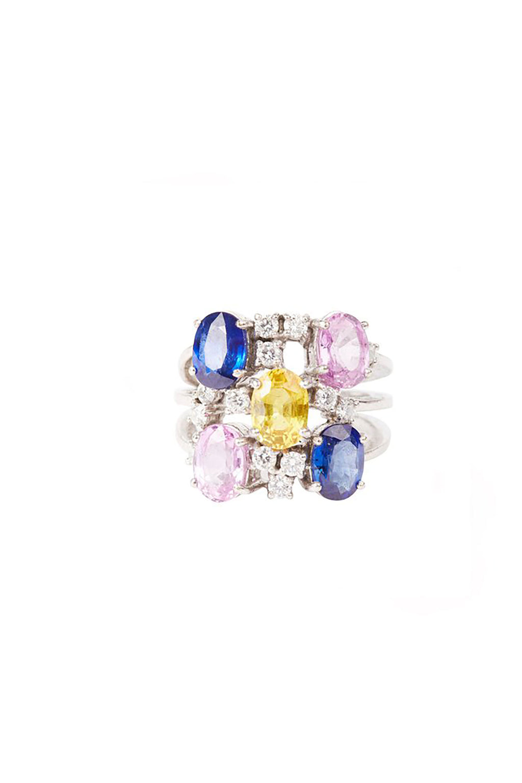 Silver Diamond and Multicoloured Stones Ring