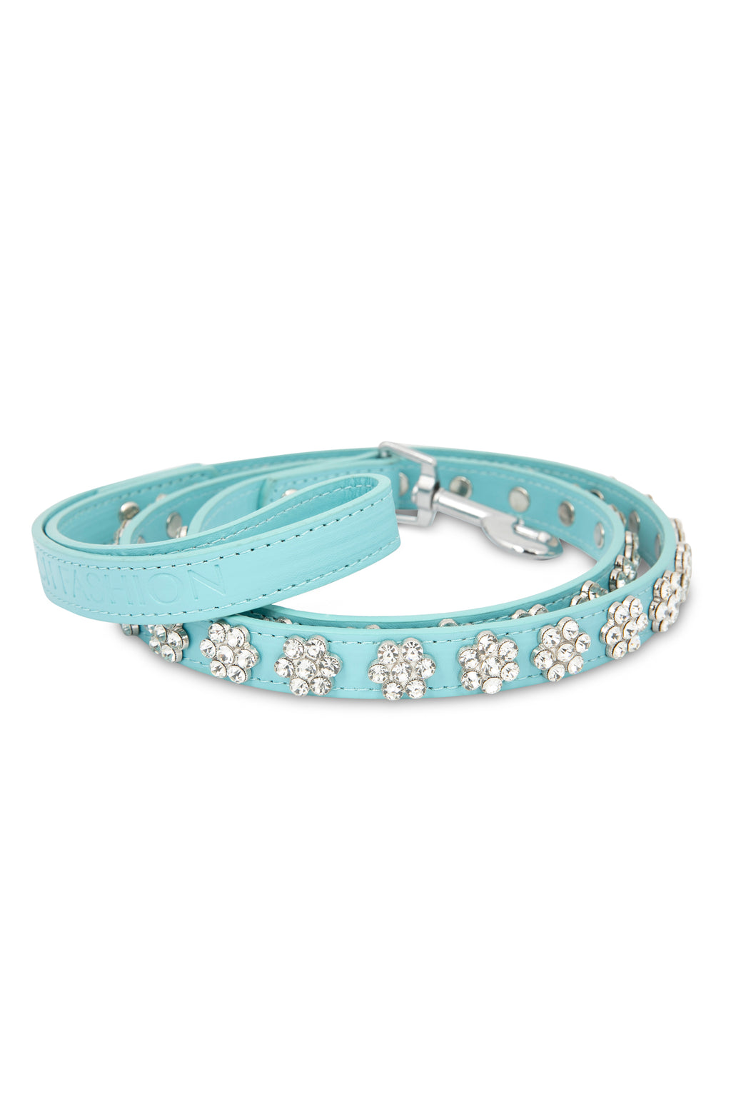 Flower Rhinestone Blue Leash
