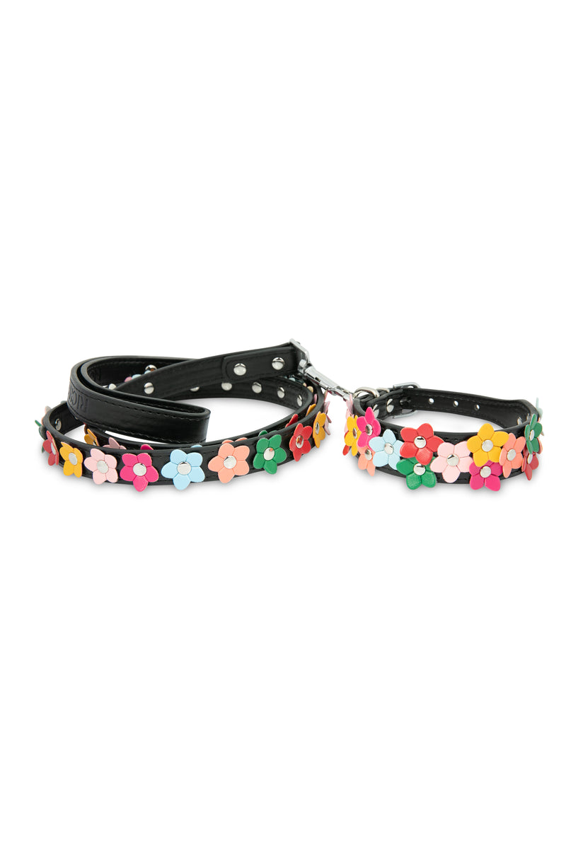 Black Flower Dog Collar