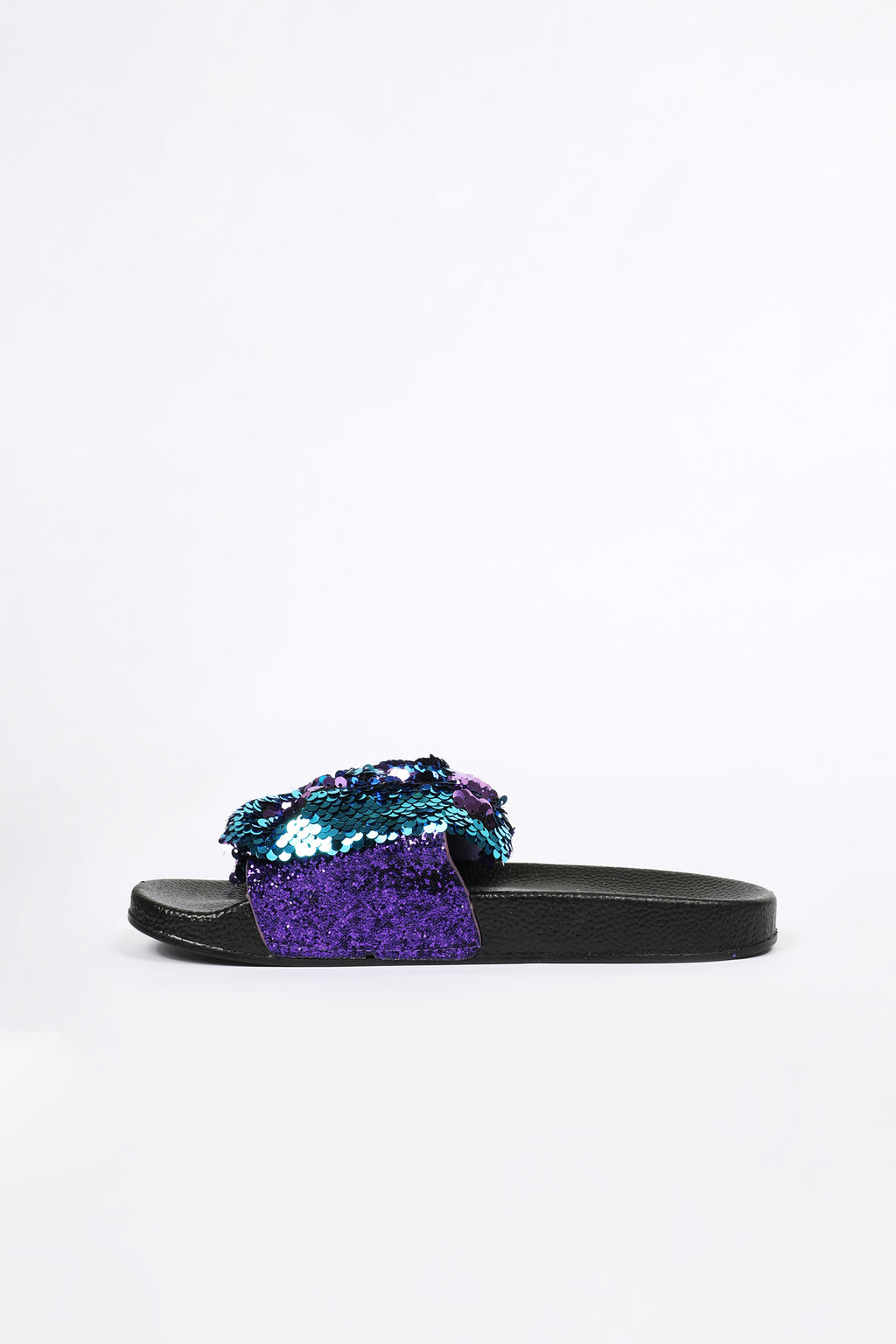 Slide Slippers with Blue and Purple Sequin Bow