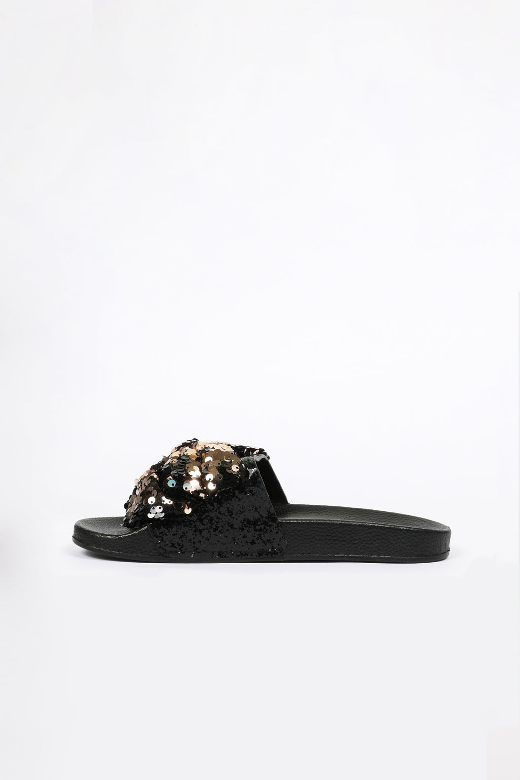 Slide Slippers with Black and Rose Sequin Bow
