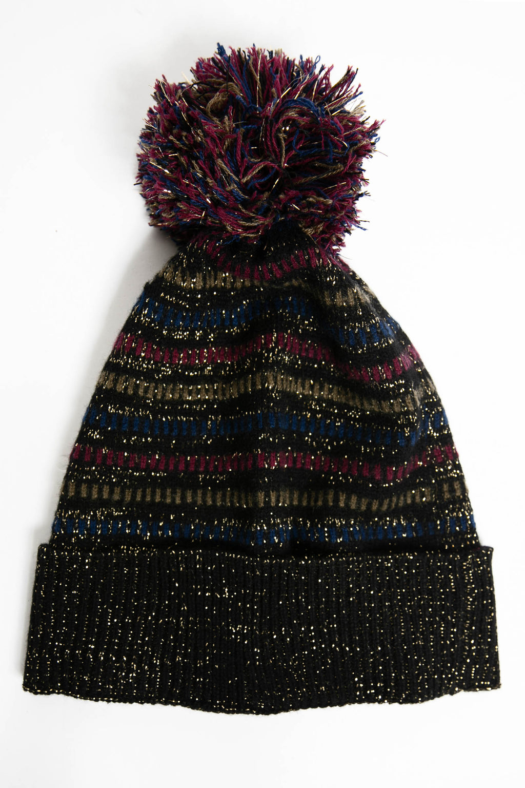 Striped Lurex & Cashmere Pom Pom Beanie