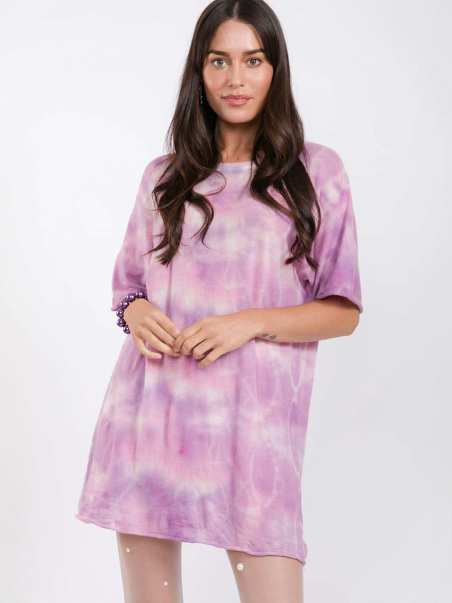 Purple Tie Dye Cashmere Jumper by SW3 detail