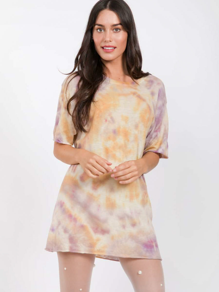 Yellow and Purple Tie Dye Cashmere Jumper by SW3