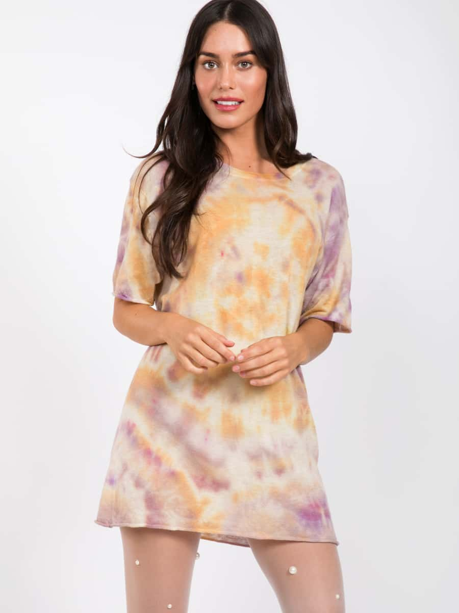Yellow and Purple Tie Dye Cashmere Jumper by SW3 close