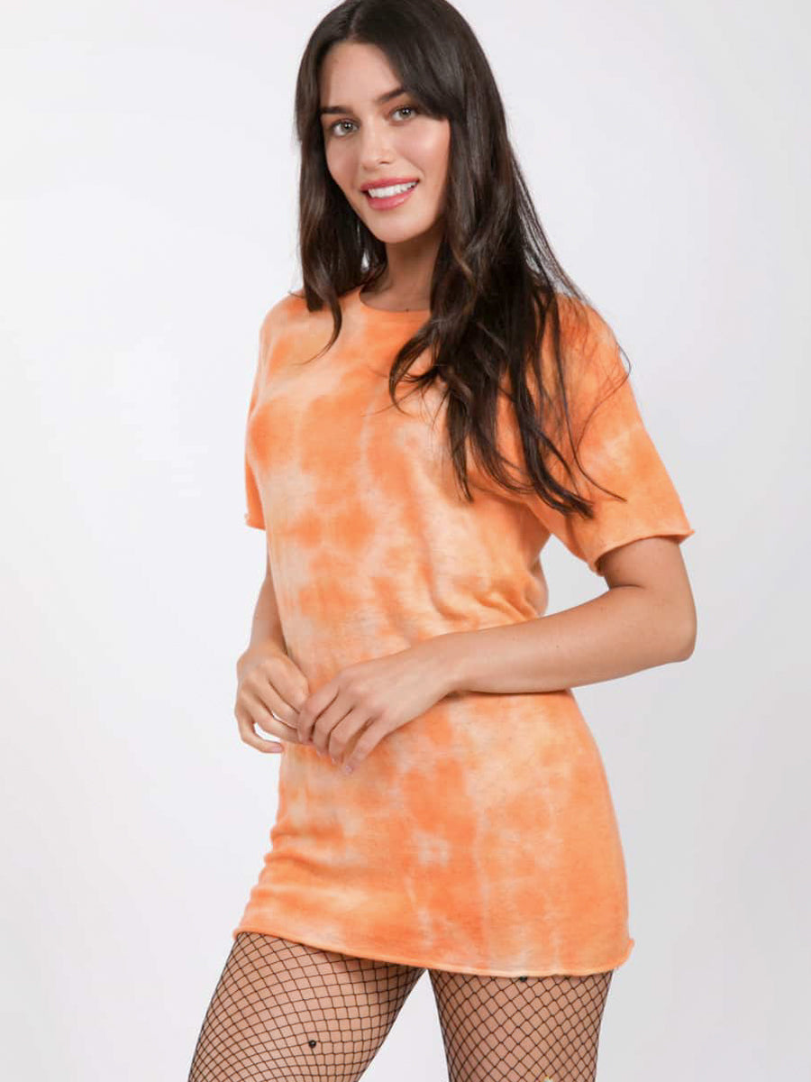 Orange Tie Dye Cashmere Jumper by SW3 side
