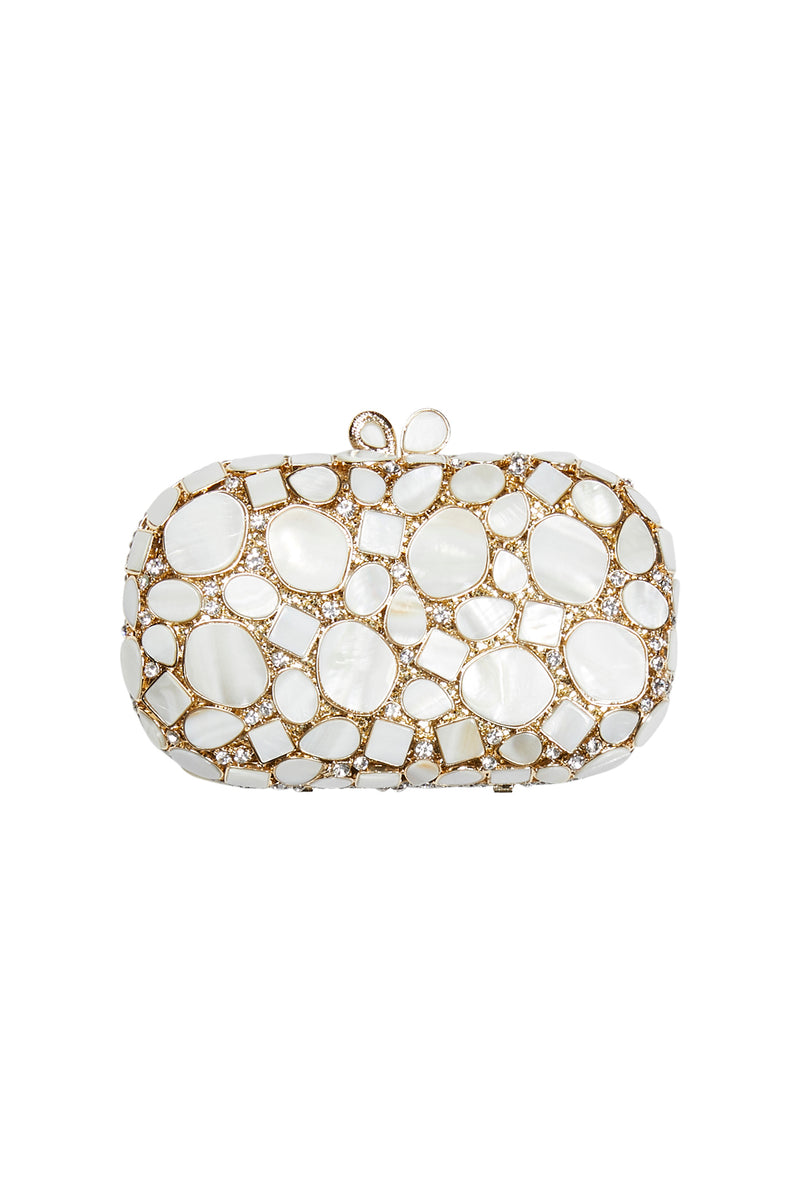 Mother of Pearl and Diamante Evening Clutch
