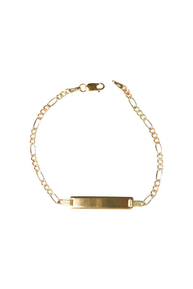 14KT Gold ID Bracelet with Figaro Chain