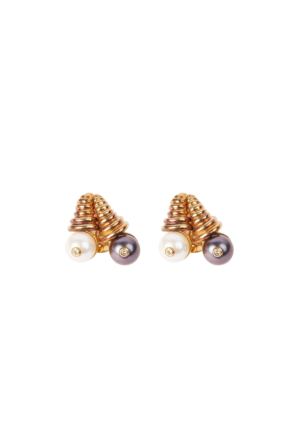 Two Tone Pearl Gold Earring