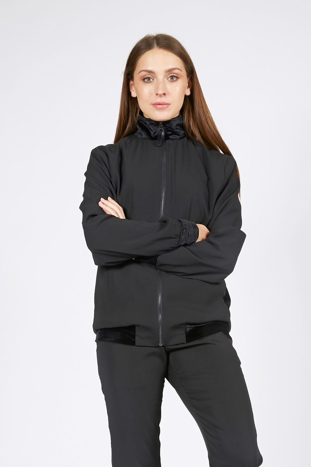 Unisex Track Jacket with Velvet Stripe
