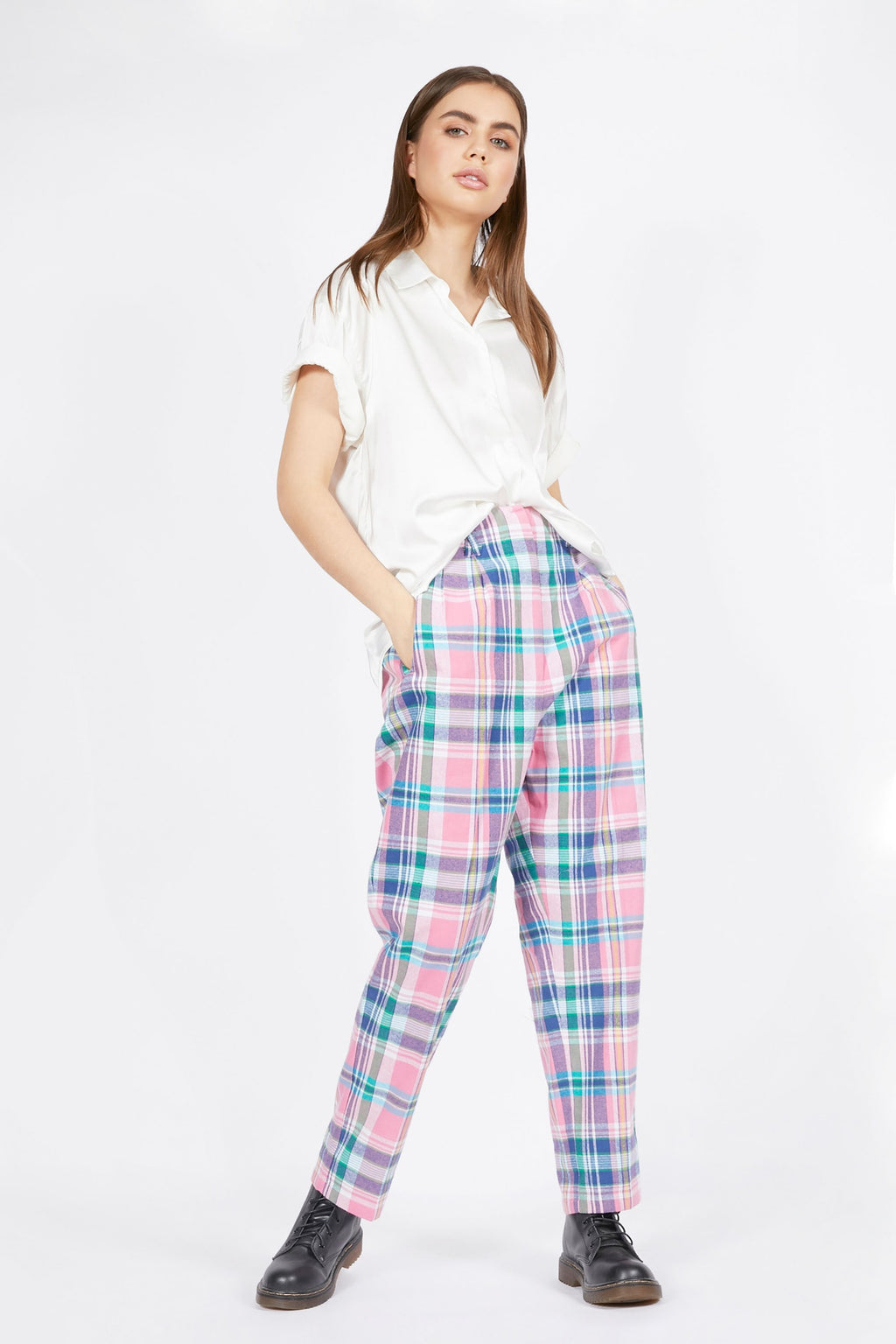 Relaxed Fit Pink Tartan Suit Trousers