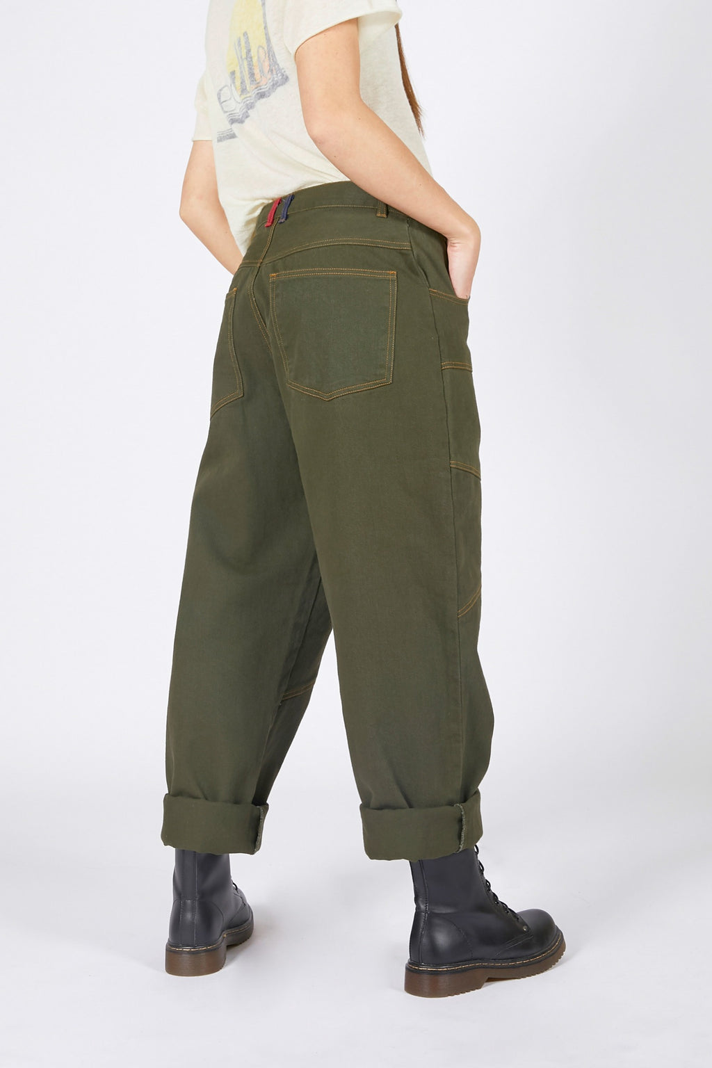 Adrian Unisex Green Denim Jeans