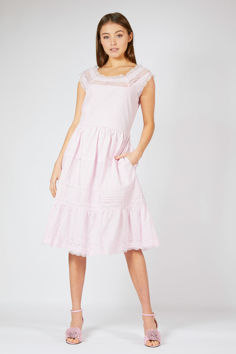 Cotton Lace Trim Summer Dress