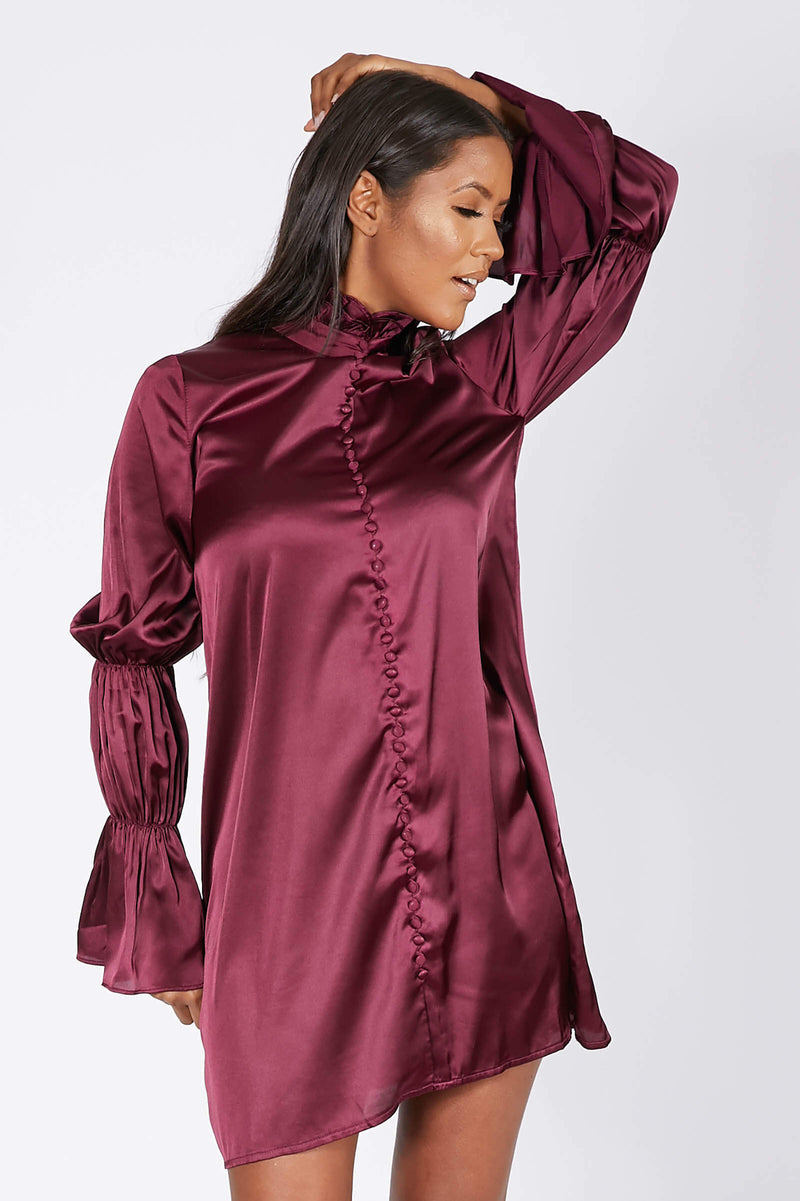 Satin Button Front Shift Dress