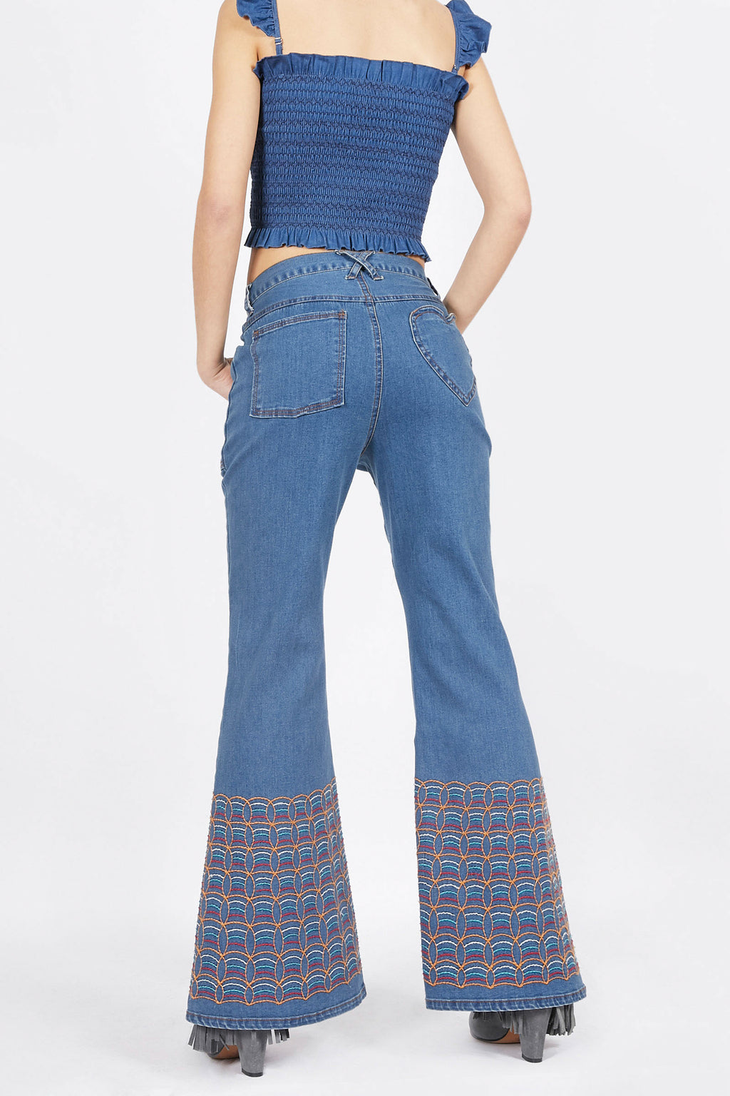 Flared Denim Jeans with Embroidery