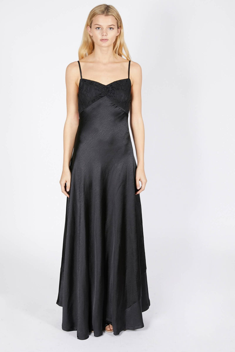 Satin Strappy Maxi Dress (Grey & Black)