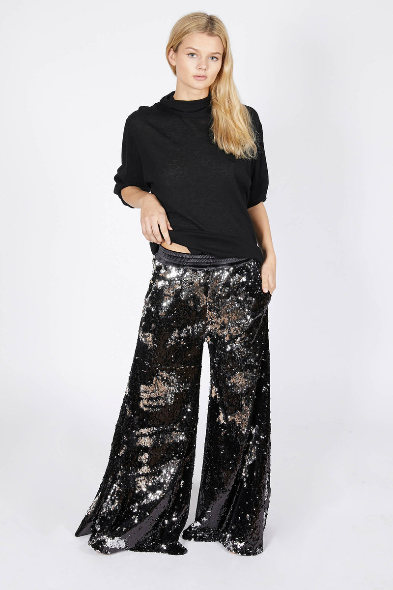 Black Sequin Wide Leg Trousers