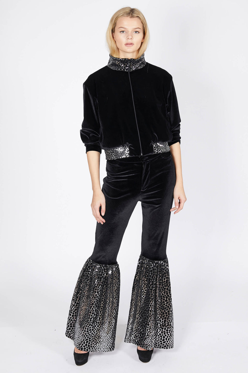 Ilona Rich Velvet Reptilian Sequin Crop Jacket
