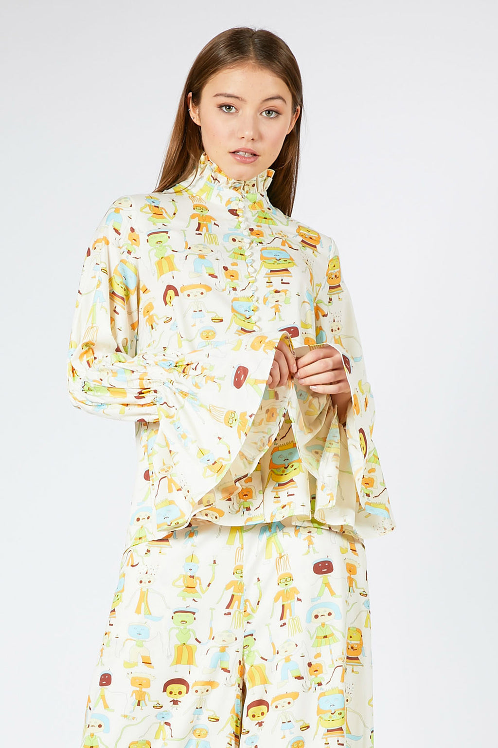 Character Print Bell Sleeve Blouse