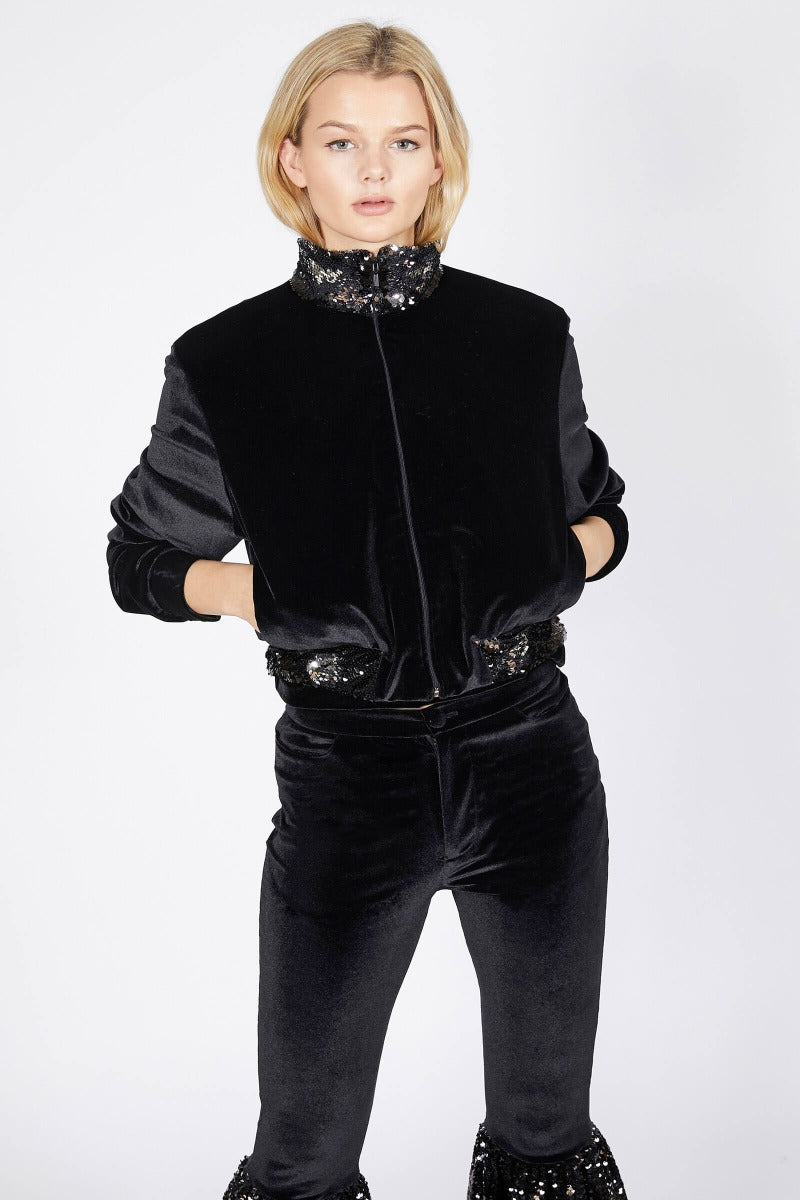 Ilona Rich Black Velvet Sequin Detail Crop Jacket
