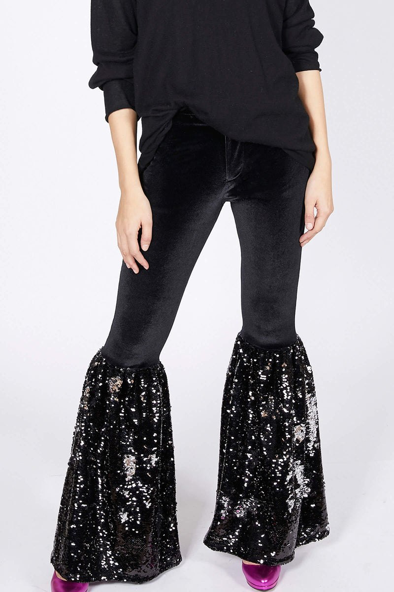 Ilona Rich Black Velvet Sequin Flared Trousers