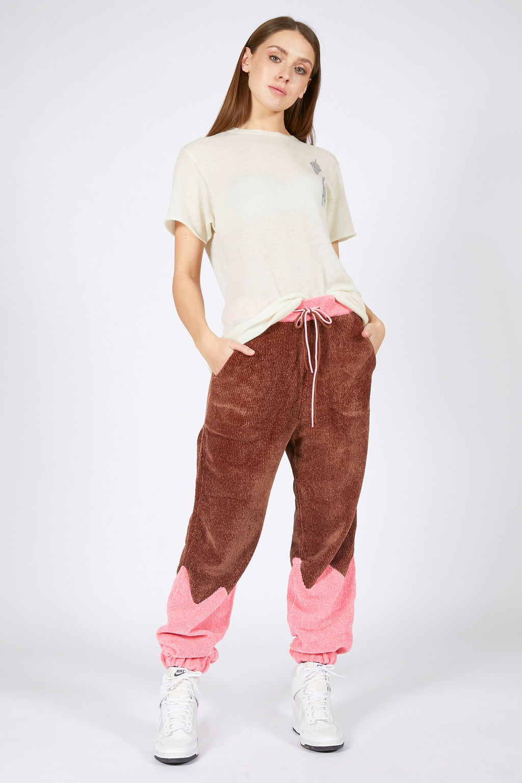 Adrian Unisex Pink and Brown Chenille Track Bottoms