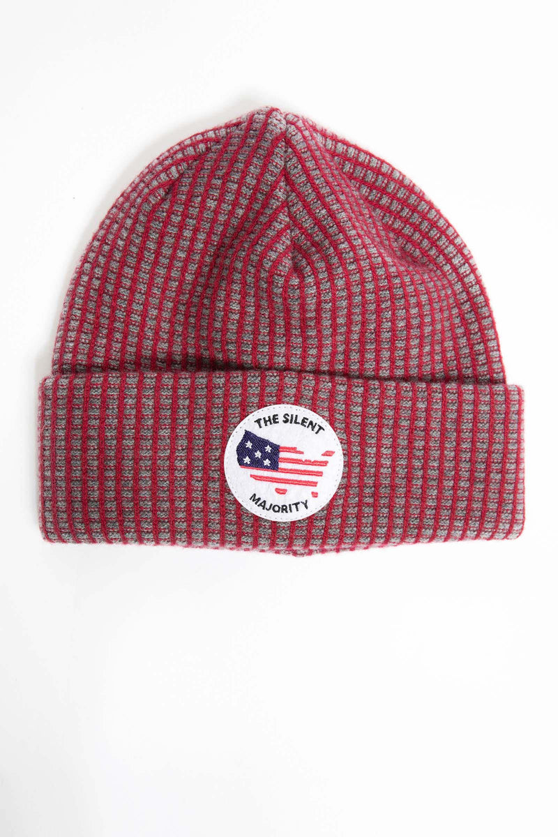 I.S.M. 'Silent Majority' Red Cashmere Beanie