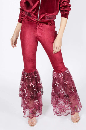 Ilona Rich Deep Red Velvet Lace Flared Trousers