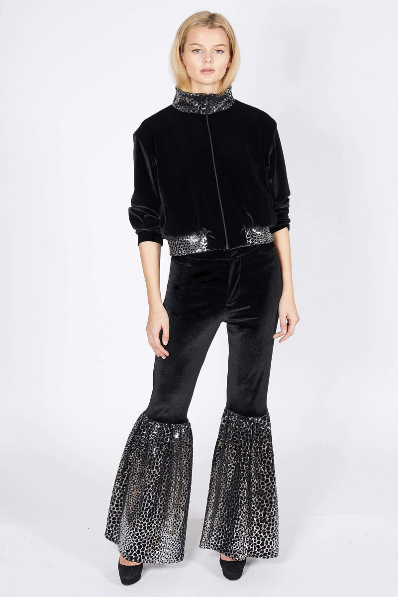 Ilona Rich Black Reptilian Sequin Flared Trousers