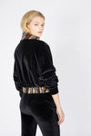 Ilona Rich Black Velvet Gold Sequin Detail Crop Jacket