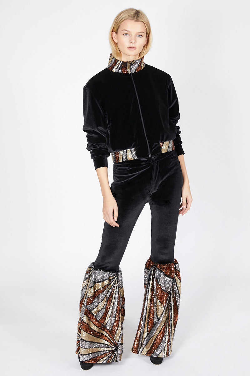 Ilona Rich Black Velvet Gold Sequin Flared Trousers