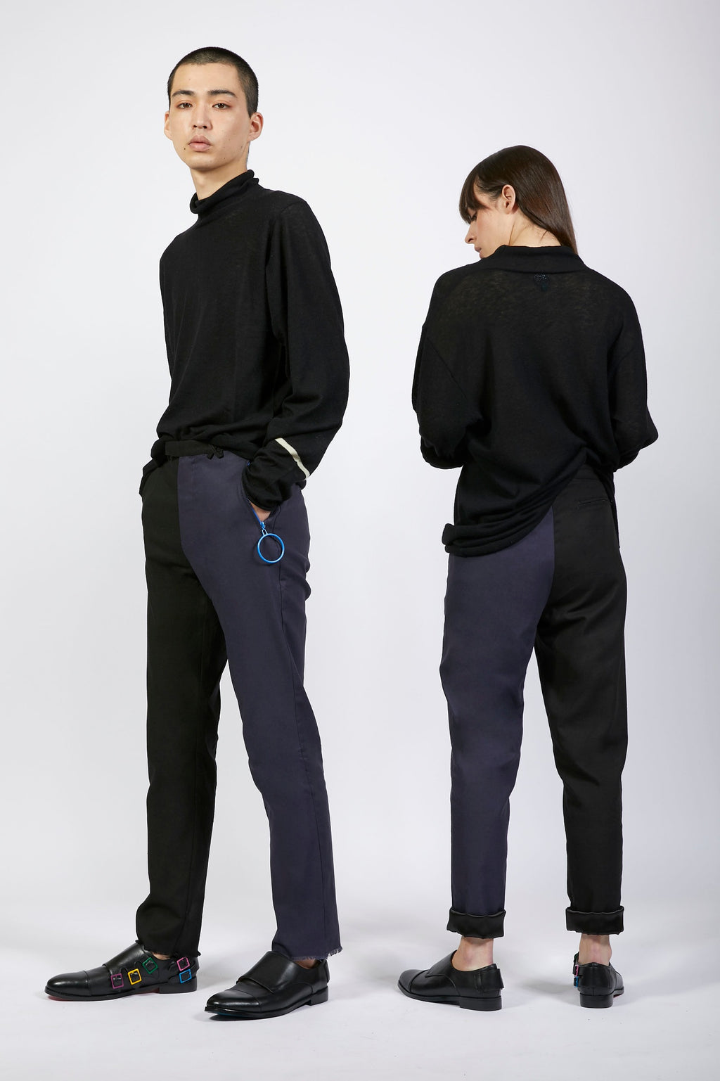 Unisex Black and Navy Loop Trousers
