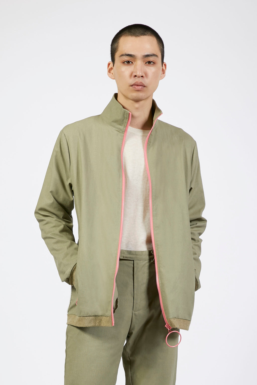 Unisex Green Loop Zip Front Jacket