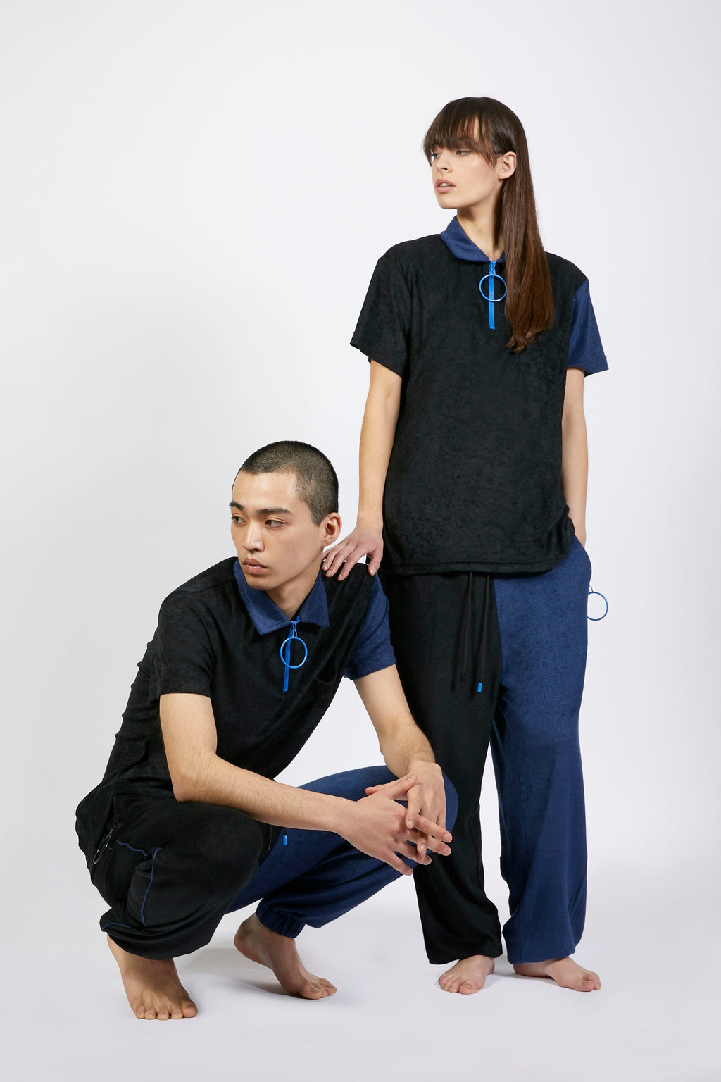 Unisex Black and Navy Zip Polo