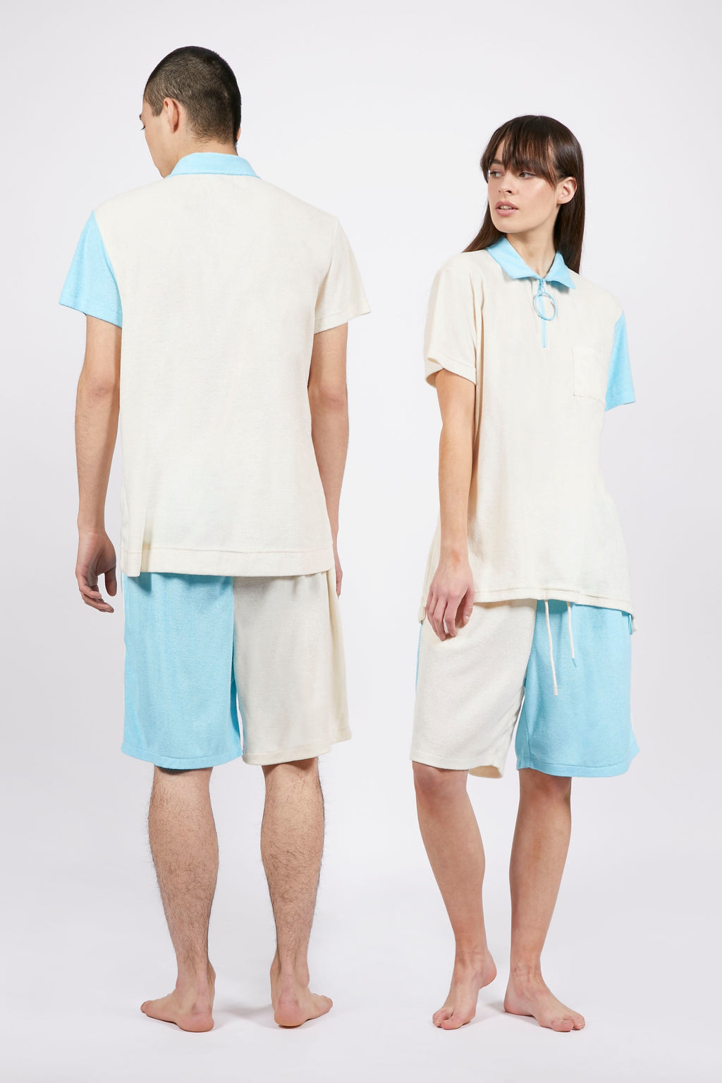 Unisex Cream and Blue Terry Shorts