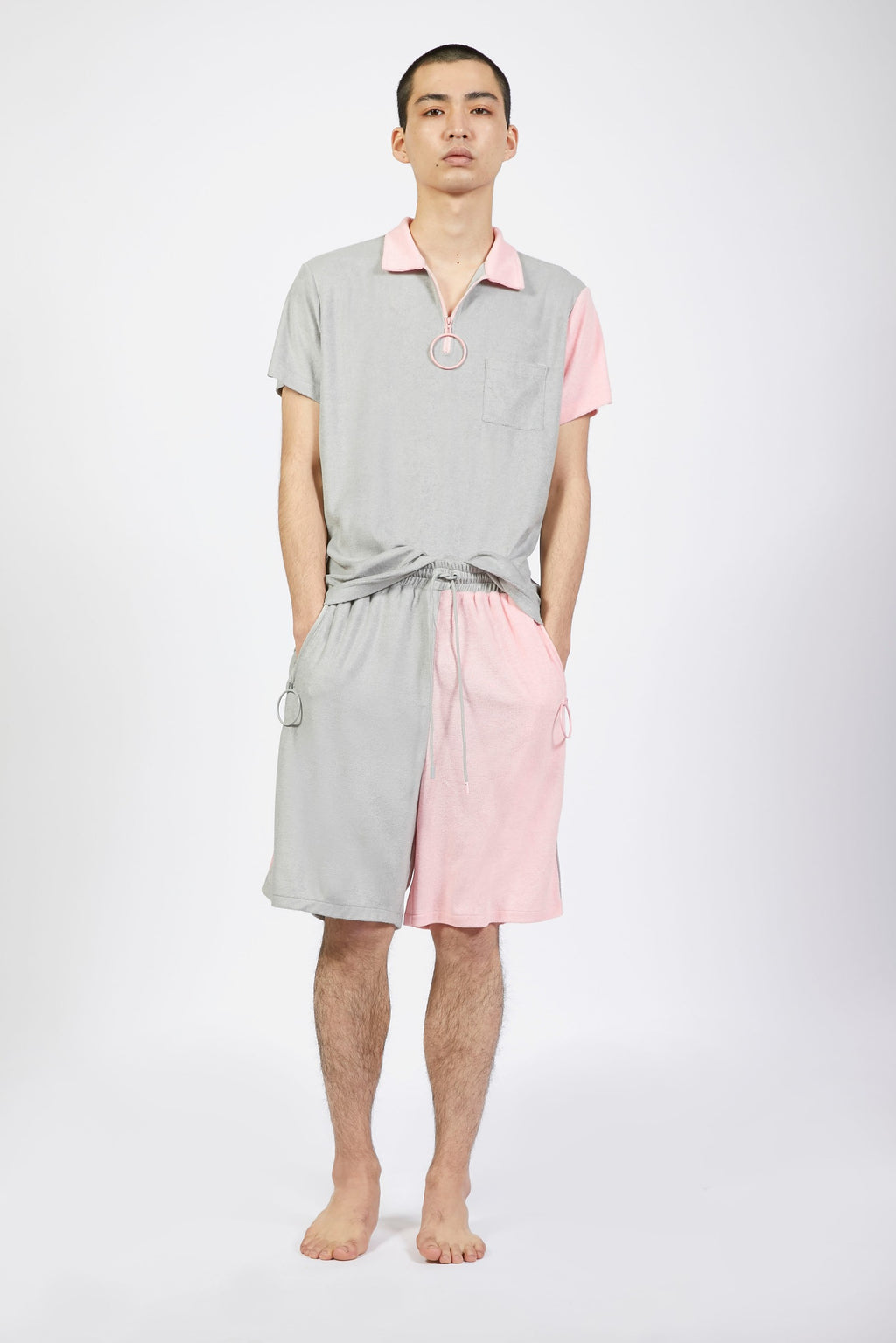 Unisex Grey and Pink Terry Shorts