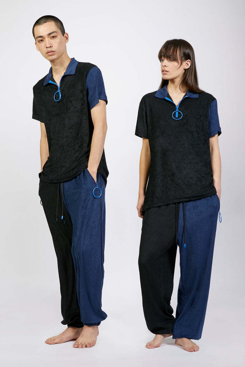 Unisex Black and Navy Track Trousers