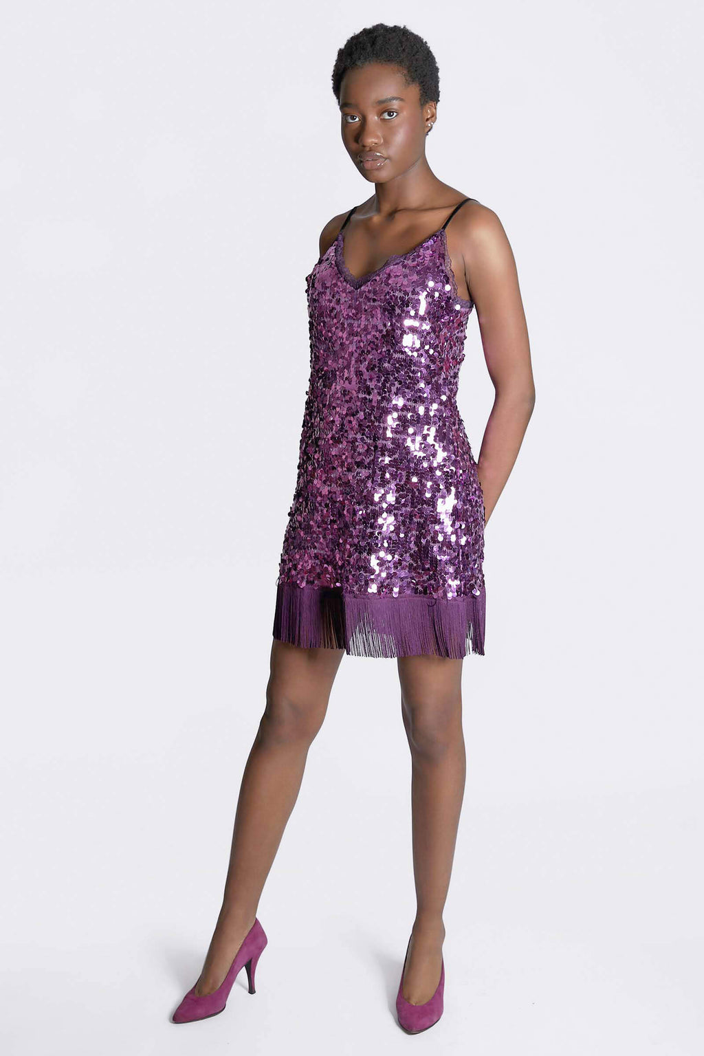 Ilona Rich Purple Sequin Cami Dress