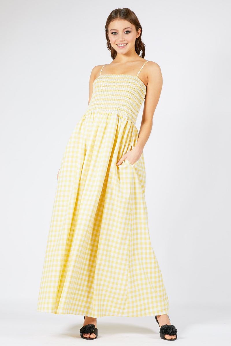 Smocked Gingham Maxi Dress
