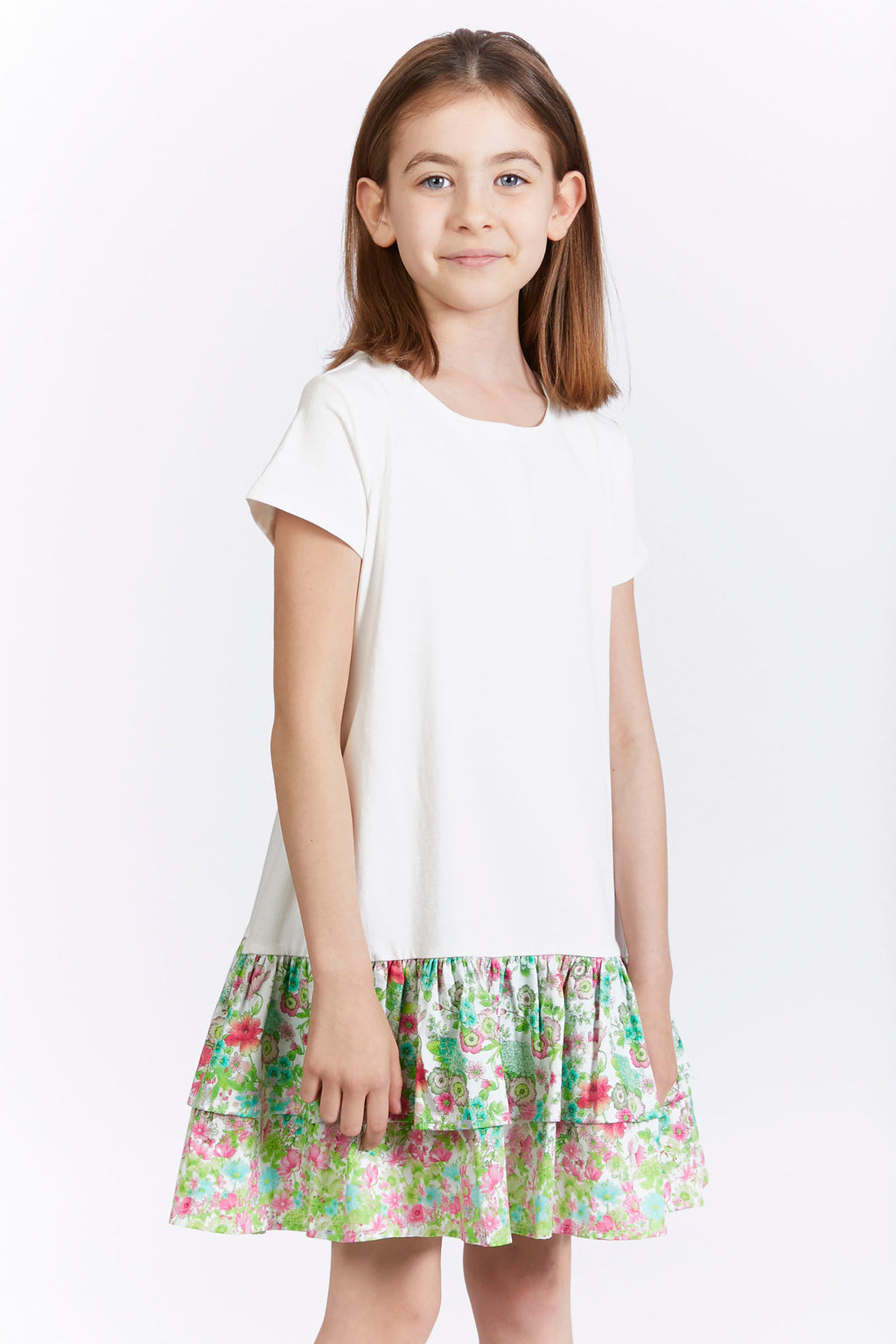 Kids T-Shirt Dress with Floral Ruffle Hem