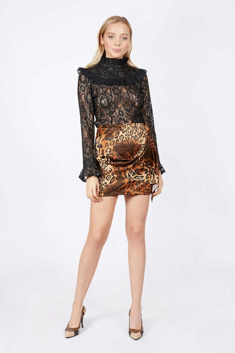 Ilona Rich Animal Print Skirt with Tuck Tie