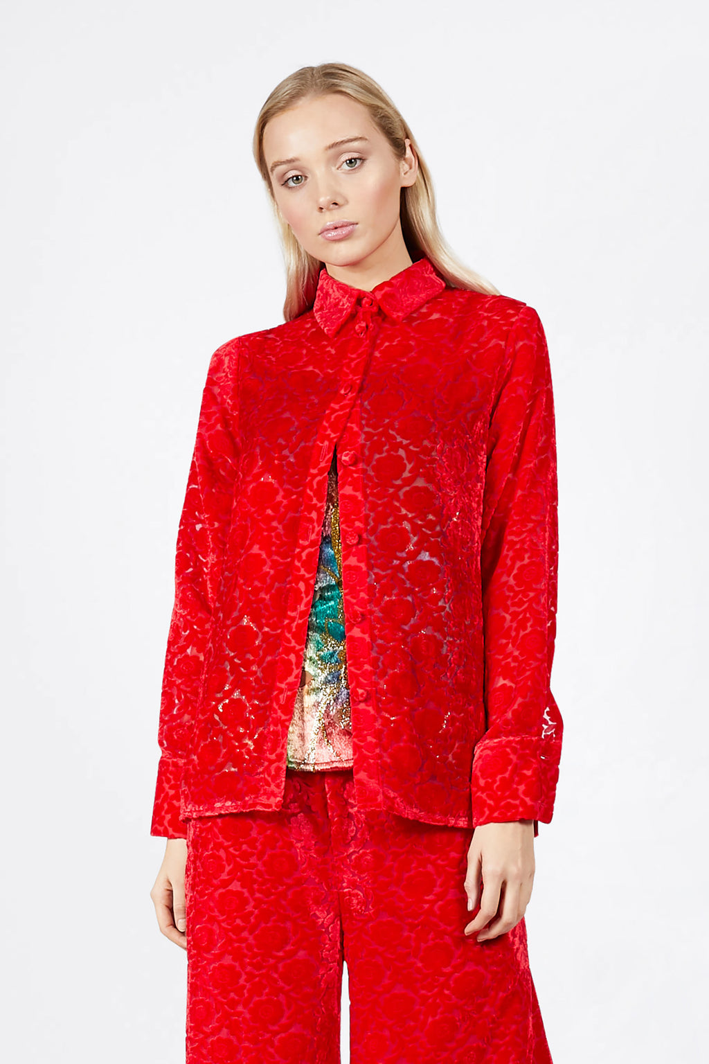 Ilona Rich Red Velvet Brocade Shirt