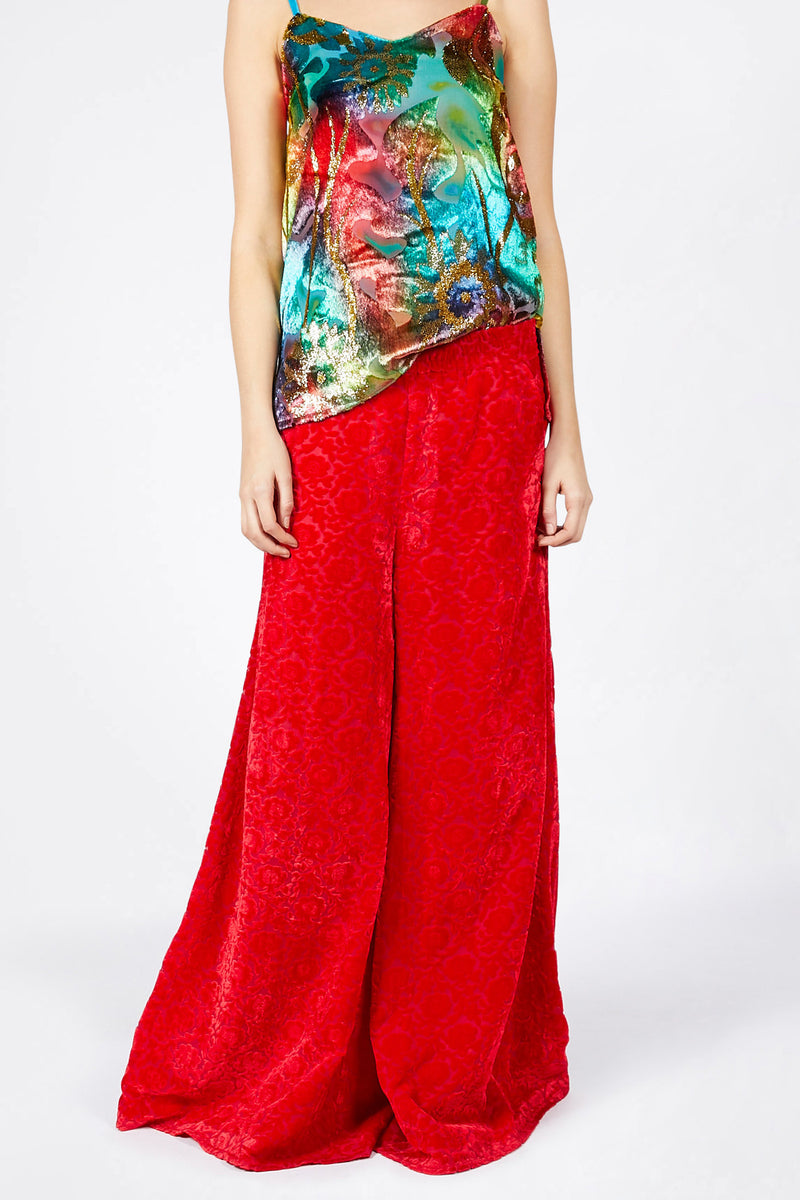 Ilona Rich Red Velvet Brocade Trousers