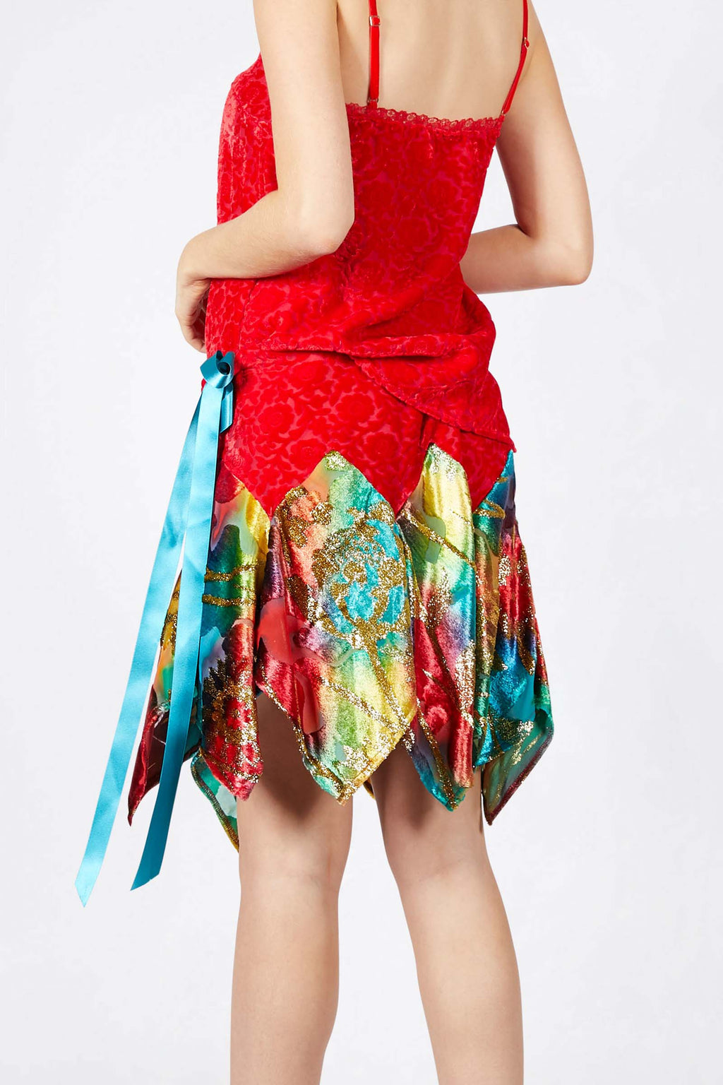 Ilona Rich Red Velvet Brocade and Multicolour Metallic Tie Skirt